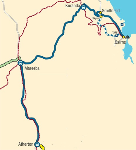 Cairns to Atherton Map